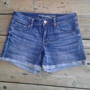 American Eagle midi super stretch jean shorts
